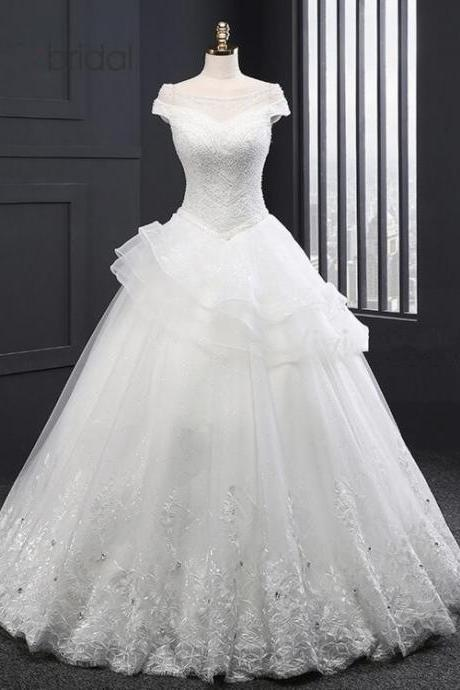 Off-the-Shoulder Beaded Princess Ball Gown, Wedding Dress with Lace Appliqués, Ruffles and Lace-Up Back
